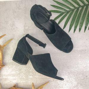 Urban Outfitters Black Suede Block Heel Sandals